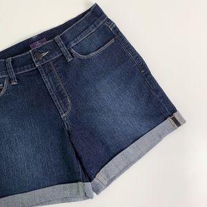 NYDJ - Rolled Cuff Dark Wash Jean Shorts Size 8